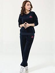 cheap -Women's 2-Piece Velour Streetwear Sports Bra With Running Pants Track Pants Sports Pants 2pcs Winter Yoga Running Warm Softness Sportswear Plus Size Top Bottoms Clothing Suit Long Sleeve Activewear