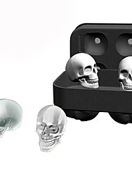 cheap -Skull Shape 3D Ice Cube Mold Maker Bar Party Silicone Trays Mould Whiskey Mold DIY Tool Halloween Skeleton