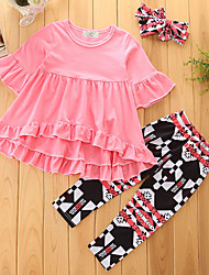 cheap -Toddler Girls' Ethnic Style Coats Bottoms Solid Colored Geometic Print Half Sleeve Regular Long Cotton Clothing Set Blushing Pink / Pants / Casual / Daily / High Rise / Ruffle / Adorable