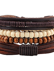 cheap -Men's Women's Bead Bracelet Leather Bracelet Rope woven Bohemian Wooden Bracelet Jewelry Coffee For Casual Going out