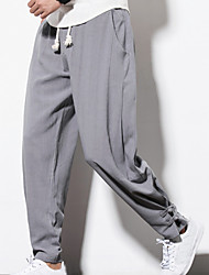 cheap -Men's Vintage / Casual / Active Plus Size Daily Weekend Loose Skinny / Loose / wfh Sweatpants Pants - Solid Colored Linen Navy Blue Wine Light gray XXXL XXXXL XXXXXL / Chinoiserie / Chinoiserie