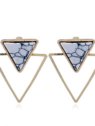 cheap -Women's Turquoise Stud Earrings Geometrical Ladies Personalized Punk Gold Plated Earrings Jewelry Gold / White For Gift Casual