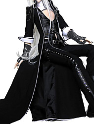 cheap -Vampire Plague Doctor Gothic Lolita Punk Outfits Men's Women's PU Leather Leather Japanese Cosplay Costumes Black Solid Colored Poet Sleeve Long Sleeve Ankle Length / Vest / Pants / Gloves / Coat