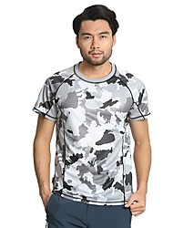cheap -Running T-Shirt Running Shirt Short Sleeve Nylon Quick Dry Road Cycling Exercise & Fitness Sportswear Patchwork Top Camouflage Activewear Stretchy / Spandex