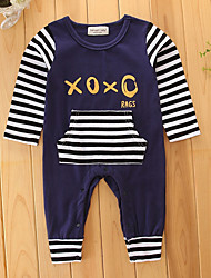 cheap -Baby Boys' Teddies / One Piece / Pants Stripes / Fashion Long Sleeve Cotton Overall & Jumpsuit Royal Blue / Basic / Trousers / Leisure / Dresswear / Furcal