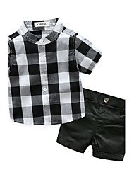 cheap -Baby Boys' Check Cotton Lattice Short Sleeves Cotton Clothing Set Black