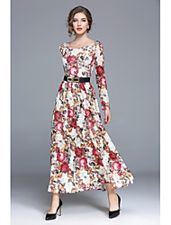 cheap -Women's Floral Maxi Beige Dress Street chic Fall Party Daily Swing Floral S M