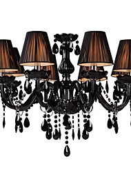 cheap -LWD 8-Light 70 cm Crystal / Adjustable / Candle Style Chandelier Glass Fabric Black Modern Contemporary 110-120V / 220-240V