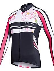 abordables -Realtoo Femme Manches Longues Maillot Velo Cyclisme Cyclisme Maillot Hauts / Top VTT Vélo tout terrain Vélo Route Des sports Polyster Vêtement Tenue / Elastique