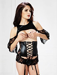 cheap -Women's Lace Up Underbust Corset - Jacquard, Lace / Hole / Lace up Black M L XL / Suits