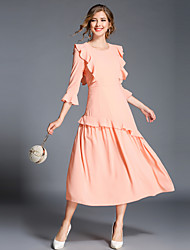 cheap -Women's Ruffle Blushing Pink Black Dress Vintage Sophisticated Fall Party Daily Going out A Line Solid Colored Flare Cuff Sleeve Ruffle
