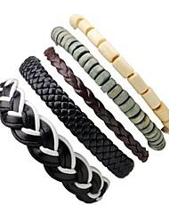 cheap -Men's Women's Bead Bracelet Leather Bracelet woven Bohemian Wooden Bracelet Jewelry Black For Holiday Going out