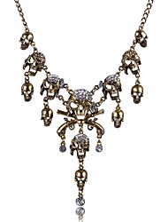 cheap -Women's Pendant Necklace Skull Rhinestone Alloy Bronze Necklace Jewelry For Stage Street