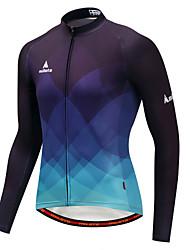 abordables -Miloto Homme Manches Longues Maillot Velo Cyclisme Bleu et Noir Pente Cyclisme Maillot Hauts / Top Des sports Hiver Polyster VTT Vélo tout terrain Vélo Route Vêtement Tenue / Elastique