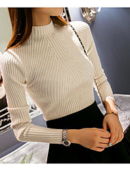 cheap -Women's Solid Colored Pullover Long Sleeve Slim Regular Sweater Cardigans Turtleneck Spring Winter White Black Blushing Pink / Going out