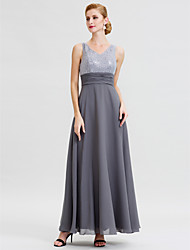 cheap -A-Line Jewel Neck Ankle Length Chiffon / Sequined Sleeveless Open Back / Two Piece Mother of the Bride Dress with Beading / Sashes / Ribbons 2020