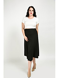 cheap -Women's Daily / Holiday / Going out Vintage Plus Size Cotton A Line / Swing Skirts - Solid Colored Knitting Black White S M L / Work / Club / Beach
