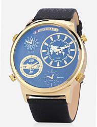 cheap -Men's Fashion Watch Wrist Watch Quartz Genuine Leather Black / Brown Water Resistant / Waterproof Calendar / date / day Chronograph Analog Charm - Blue Dark Red Black / Blue 20 H Battery Life