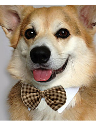 cheap -Cat Dog Tie / Bow Tie Dog Clothes Brown White Yellow Costume Cotton Bowknot Casual / Daily S