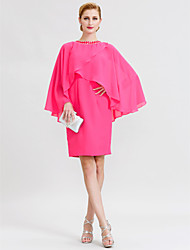 cheap -Sheath / Column Mother of the Bride Dress Elegant Jewel Neck Knee Length Chiffon Long Sleeve with Crystals 2020 / Butterfly Sleeve