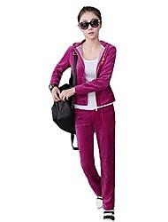 cheap -Women's Streetwear Velour Running T-Shirt With Pants Track Jacket Winter Yoga Running Pilates Lightweight Warm Breathability Sportswear Tracksuit Winter Fleece Jacket Clothing Suit Long Sleeve
