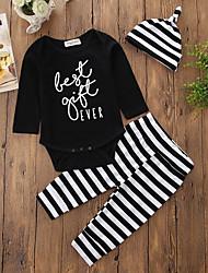 cheap -Baby Girls' Hat / One Piece / Casual Cotton / Daily Stripes Long Pant Regular Regular Cotton Clothing Set Black / Knitwear / Euramerican / Toddler