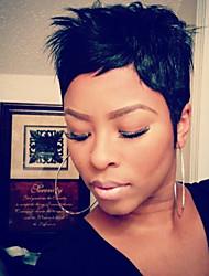 Недорогие -Человеческие волосы Парик Короткие Машинное плетение Жен. Черный Medium Auburn