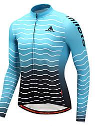 cheap -Miloto Men's Long Sleeve Cycling Jersey Winter Fleece Polyster Sky Blue+White Gradient Bike Jersey Top Mountain Bike MTB Road Bike Cycling Sports Clothing Apparel / Stretchy