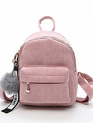 cheap -Women's Velvet School Bag Commuter Backpack Large Capacity Solid Zipper Daily Backpack Black Blushing Pink Brown Gray
