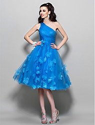 cheap -A-Line 1950s Blue Cocktail Party Prom Dress One Shoulder Sleeveless Knee Length Tulle with Ruched Appliques 2020