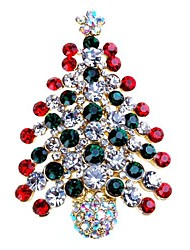 cheap -Women's Brooches Tree of Life Ladies Simple Sweet Rhinestone Brooch Jewelry Gold Silver For Christmas Gift