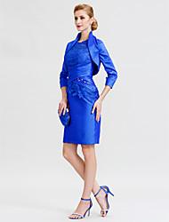 abordables -Fourreau / Colonne Illusion Neck Mi-long Taffetas Manches 3/4 Robe Convertible / Echarpe incluse / Inspiration Vintage Robe de Mère de Mariée  avec Croisé 2020