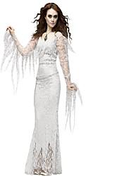 abordables -Déguisement Halloween Femme Zombie Mariée Robe Costume de Cosplay Bal Masqué Noël Halloween Carnaval Blanc Violet Costumes Carnaval / Coiffure