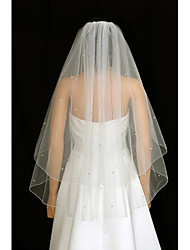 cheap -Two-tier Wedding Veil Blusher Veils / Fingertip Veils with Rhinestone / Ruched Tulle / Angel cut / Waterfall