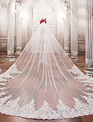 cheap -One-tier Wedding Veil Cathedral Veils with Beading / Appliques Lace / Tulle / Angel cut / Waterfall