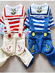 cheap -Dog Jumpsuit Puppy Clothes Stripes Cosplay Dog Clothes Puppy Clothes Dog Outfits Red Blue Costume for Girl and Boy Dog Cotton XS S M L XL