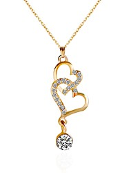 cheap -Women's Choker Necklace Pendant Necklace Chain Necklace Heart Rhinestone Alloy Gold Necklace Jewelry For Party Daily