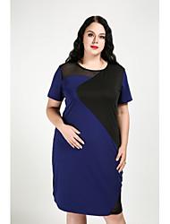 cheap -Women's Plus Size Daily Street chic Shift Dress - Color Block Fall Cotton Pink Royal Blue XXXXL XXXXXL XXXXXXL