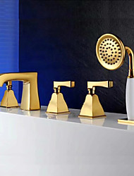 cheap -Bathtub Faucet Gold Tub And Shower Ceramic Valve Bath Shower Mixer Taps / Three Handles Five Holes