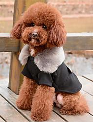 Недорогие -Собака Плащи Рождество Зима Одежда для собак Черный Серый Костюм Хаски бордер-колли Бульдог Хлопок Однотонный Сохраняет тепло Хэллоуин M