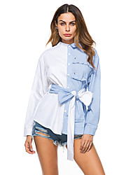 cheap -Women's Holiday Going out Cotton Shirt - Striped / Color Block Bow / Ruffle / Patchwork Stand Blue