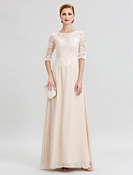 cheap -Sheath / Column Illusion Neck Floor Length Chiffon / Sheer Lace Half Sleeve Elegant / See Through Mother of the Bride Dress with Appliques 2020 / Illusion Sleeve