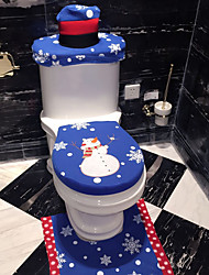 cheap -3Pcs/Set Christmas Bathroom Products Xmas Decoration Blue Snowman Toilet Seat Cover And Rug Bathroom Christmas Home Decorations