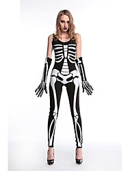 cheap -Skeleton / Skull Ghostly Bride Costume Women's Halloween Day of the Dead Festival / Holiday Polyester Polyster Black Women's Carnival Costumes Check / Gloves