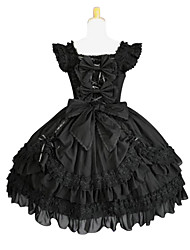 cheap -Gothic Lolita Lolita Dress Women's Pure Color Japanese Cosplay Costumes Plus Size Customized Black Ball Gown Solid Colored Butterfly Sleeve Sleeveless