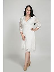 cheap -Women's Plus Size Daily Sheath Dress - Solid Colored Lace V Neck Fall Cotton White Black XXXXL XXXXXL XXXXXXL