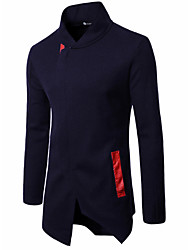cheap -Men's Daily Leisure Fall / Winter Regular Coat, Solid Colored V Neck Sleeveless Cotton Black / Red / Navy Blue