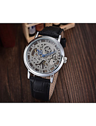 cheap -Men's Skeleton Watch Mechanical Watch Automatic self-winding Quilted PU Leather Black / Brown Hot Sale Analog Charm Fashion - White Yellow