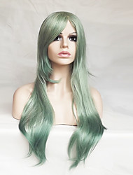 cheap -Synthetic Wig Cosplay Wig Straight Straight Asymmetrical With Bangs Wig Long Green Synthetic Hair Women's Natural Hairline Green