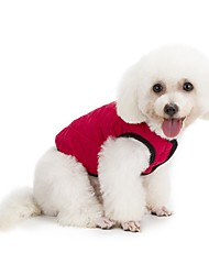 cheap -Dog Coat Vest Winter Dog Clothes Green Red Dark Blue Costume Plush Fabric Cotton Solid Colored Casual / Daily Keep Warm Sports S M L XL XXL